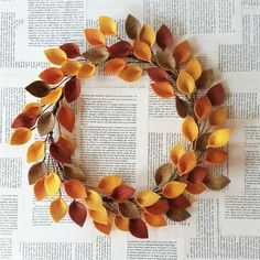 "Extra large 20"" size - Autumn felt leaf wreath - Fall leaves wreath - Thanksgiving decor - Made to order - CuriousBloom"