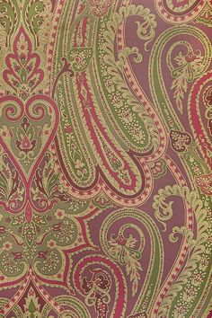 Mulberry Paisley Wallpaper Large, bold Paisley design wallpaper in Plum, Aubergine, Green and Gold.