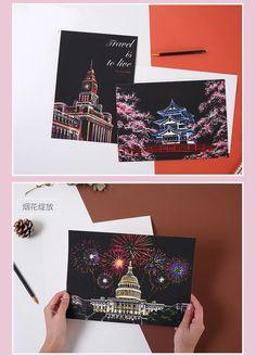 Postcard Book, Scratch Art, Fireworks, First Love, Vibrant, Paintings, Kit, Artwork, Handmade