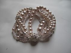 Handmade Weddingpowder  pink  Pearl BraceletCrystal by galladesign, $45.00