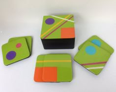 Coasters and Box handmade painted wood solid por FucsiaDesigns Diy Coasters, Wooden Coasters, Dot Painting, Painting On Wood, Tulip Colors, Glass Fusing Projects, Diy Organisation, Creative Arts And Crafts, Box Art