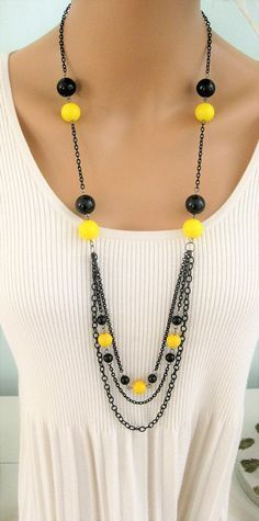 Long Black Beaded Necklace Black and Yellow Necklace Long