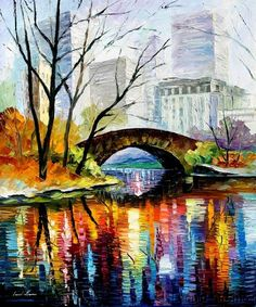 Central Park  By: Leonid Afremov  brush strokes, colors would need to be more pastel