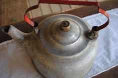 Vintage Tea Kettle Beautiful Patina Bright Red by thewildraspberry, $32.00