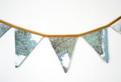 Vintage map bunting  fabric world map banner by ScissorsPaperCloth