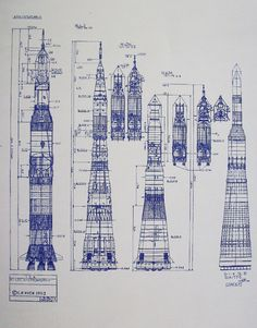 Wonderful 24 x 36 blueprint of the Boeing saturn V and Soviet N-1 Moon rockets. Made the old-fashioned way - with ammonia activated paper on a