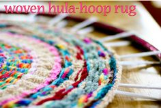 Woven Finger-Knitting Hula-Hoop Rug DIY. via Crafty Crow. I wish I had known about this as a kid. I finger-knitted miles of yarn that never really got used. I made a tiny doll rug, but it was hard to sew it together.