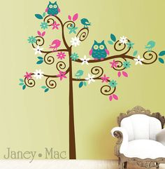 Swirl Tree Wall Decal with Owls Birds Flowers  by JaneyMacWalls, $76.50