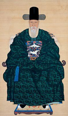 (Korea) Portrait of O Jae-sun by unknown artist. ca century CE. colors on silk. Korean Painting, Chinese Painting, Chinese Art, Korean Traditional, Traditional Art, Traditional Outfits, Korean Hanbok, Korean Dress, Korean Wave