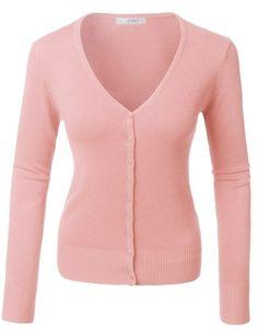 Pink V-Neck Long Sleeve Cardigan