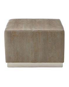 Cormac Embossed Leather Ottoman  28x28