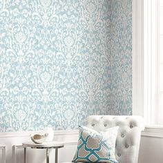 Fleur De Lis Damask Wallpaper from Bruxelles Wallpaper Book by Seabrook. Velvet Wallpaper, Damask Wallpaper, French Classic, French Style, Drywall Mud, Blue Rooms, A 17, Room Set, Natural Wood