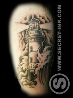 neo traditional lighthouse tattoo