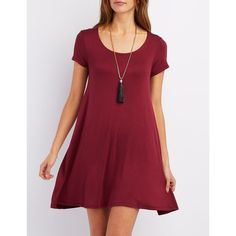 Charlotte Russe Scoop Neck Trapeze Shift Dress ($19) ❤ liked on Polyvore featuring dresses, burgundy, trapeze dress, burgundy shift dress, burgundy dress, short sleeve flare dress and charlotte russe
