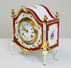 Porcelain clocks germany | Porcelain German Mantle Clock by AK Kaiser