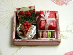 Birthday Tray in Pink - Dollhouse Miniature 1/12 scale. €26.00, via Etsy.
