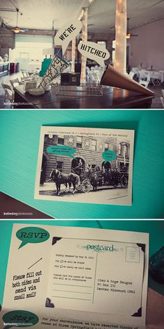 great vintage wedding with lots of fun details! Love the postcard invitations
