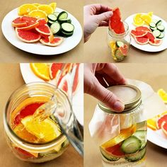 31 Detox Water Recipes for Drinks To Cleanse Skin and Body.  Easy to Make Waters and Tea Promote Health, Diet and Support Weightloss   Grapefruit, Orange and Cucumber Water Recipe  http://diyjoy.com/diy-detox-water-recipes
