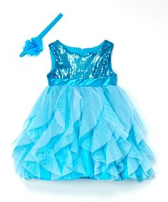 Frozen Blue Sequin Cascade Elsa Dress & Headband