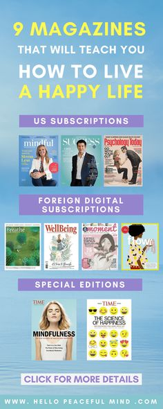 The best personal development magazines for people interested in mindfulness, wellbeing, relationship, psychology, creativity and happiness! to see the full list. Self Development, Personal Development, Science Of Happiness, How To Become Happy, Mental Training, Stress Management, Motivation, Best Self, Relationship Psychology