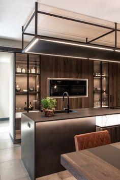 Beautiful Homes, Indoor, Interior Design, Table, House, Furniture, Home Decor, Metal Furniture, Light Fixture