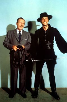 This is an color publicity photos of Walt Disney with Guy Williams as Zorro. Walt Disney Land, Disney Mickey, Disney Live, Disney Cast, Disney Movies, Disney Stuff, Great Tv Shows, Old Tv Shows, Maisie Williams