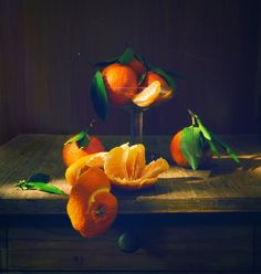 still life with tangerines - LOOK ON THE DARK BACKGROUND!