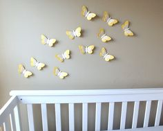 Flight of Yellow Paper & Burlap Butterflies/3D Butterfly Decor/Yellow Butterfly Baby Shower/Baby Girl Nursery/Card Stock Butterfly/Set of 12