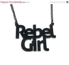 Rebel Girl Necklace Bikini Kill Kathleen by KitschBitchJewellery, $11.19