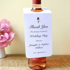 Wedding Wine Bottle Labels - Wedding Thank You Cards - Bottle Hangers - Wine Bottle Tags - Thank You Labels - Ivory - White - Elegant Rustic by CardsbyGaynor on Etsy
