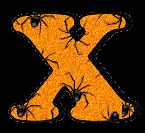 Alfabeto con arañas en el interior.