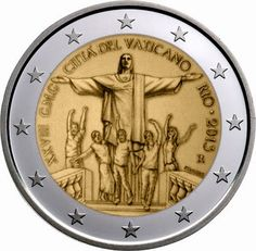 2 Euro Commemorative Coins Vatican City 2013, World Youth Day - Rio de Janeiro
