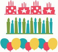 Silhouette Online Store - View Design #43082: birthday borders