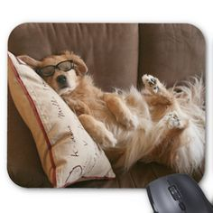 Golden Retriever Asleep on Pillow Mousepad by #AugieDoggyStore. Sold to a customer in Centennial Park, Australia