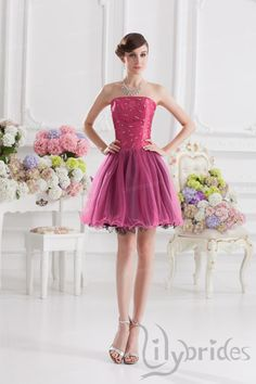 A-line Strapless Satin Organza Short/Mini Length Homecoming Dress