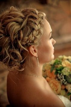 Français coiffures de mariage Braid ♥ ondulés wedidng updo
