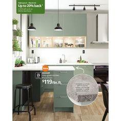 Kitchen Office, Home Decor Kitchen, Kitchen Interior, New Kitchen, Kitchen Cabinets Materials, Green Kitchen Cabinets, Custom Countertops, Grey Countertops, Grey Kitchens