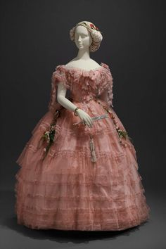 Bright Pink Tulle & Taffeta Ball Gown Trimmed with Blonde Lace. American or French, c. 1858. (View 1)