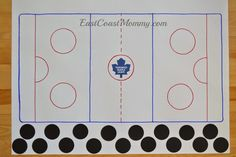 """DIY Hockey Party Games - including this """"pin the puck on the ice"""" game"""
