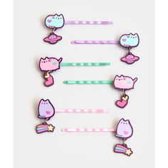 Pastel Pusheen hair pins (145 UAH) ❤ liked on Polyvore featuring accessories and hair accessories