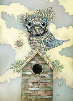 'Blue Owl Birdhouse II' by Karin Taylor