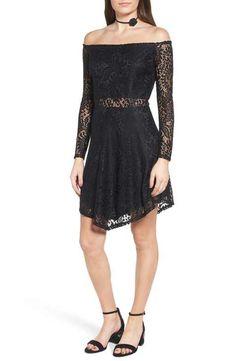 Fire Lace Off the Shoulder Dress