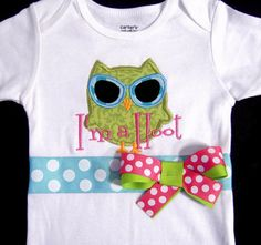 Beach Owl with Sunglasses Bodysuit or T-shirt I'm a by Whimsy Tots Boutique, $32.50