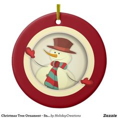 Christmas Tree Ornament - #Snowman #christmas #holidays #ornaments  #home #shopping #style #christmastree #homedecor #gifts