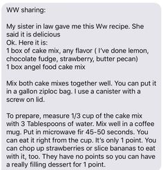 Microwave mug cake Weight Watchers Free, Weight Watchers Desserts, Weight Watchers Smart Points, Microwave Mug Recipes, Mug Cake Microwave, Weight Watcher Mug Cake, Ww Recipes, Skinny Recipes, Low Carb Recipes