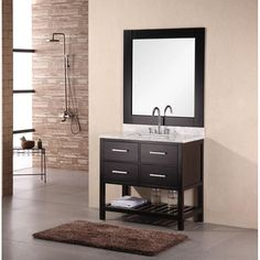 "Euro Design Vanity 36"" Single Bathroom Vanity Set. http://www.listvanities.com/design-element-bathroom-vanities.html With a perfect balance of hues and textures, the clean design of this bathroom vanity is striking. The top of this vanity is a beautiful Carrera marble with light gray veins and the solid oak cabinet is finished in a dark espresso stain."