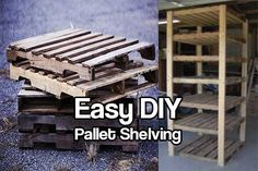 DIY Pallet Shelving. One thing that people never seem to have enough of is shelf space. Build pallet shelving for strong shelving for cheap.