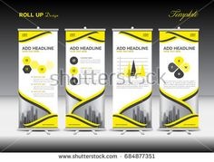 Roll up banner stand template design, Yellow banner layout, advertisement, pull up, polygon background, vector illustration, business flyer, display, x-banner, flag-banner, infographics, presentation