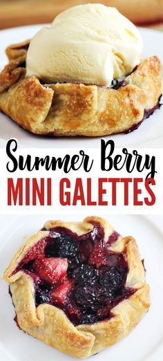 Summer Berry Galettes This Mini Summer Berry Galettes recipe is an easy dessert for summertime with strawberries & blueberries baked in a pie crust. Just like pie, but easier! Top them with whipped cream or a scoop of vanilla ice cream.This Mini Summer Be Mini Desserts, Potluck Desserts, Summer Dessert Recipes, Indian Desserts, Easy Desserts, Dinner Recipes, Desserts With Strawberries, Filipino Desserts, Wedding Desserts