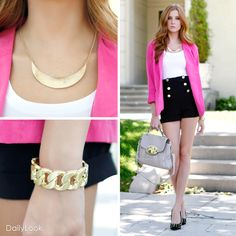 high waisted shorts and pink blazer